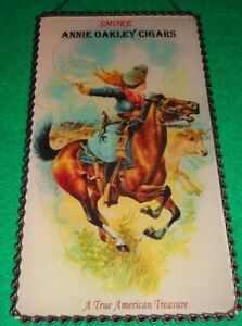 cowgirl Annie Oakley Cigars old west image Brunhoff advertising glass chain sign