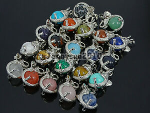 Natural-Gemstone-Round-Ball-Reiki-Chakra-Healing-Elephant-Pendant-Necklace-Beads