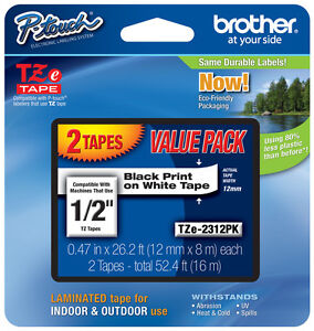 "2-Pack Brother 1/2"" Black on White P-touch Tape for PT550, PT-550 Label Maker"