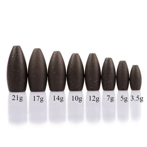 Tungsten Worm Flipping Weight Black Bullet Bass Fishing Sinker Tackle fishing S6