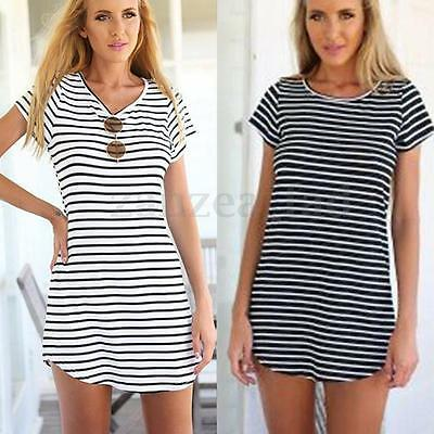 UK 8-24 Women Striped Short Sleeve T-Shirt Mini Dress Casual Loose Tops Kaftan