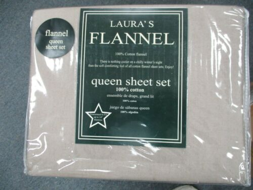 Lauras 100/% Cotton Flannel Queen Sheet Set SUPER HEAVY EXTRA DEEP FITTED KHAKI