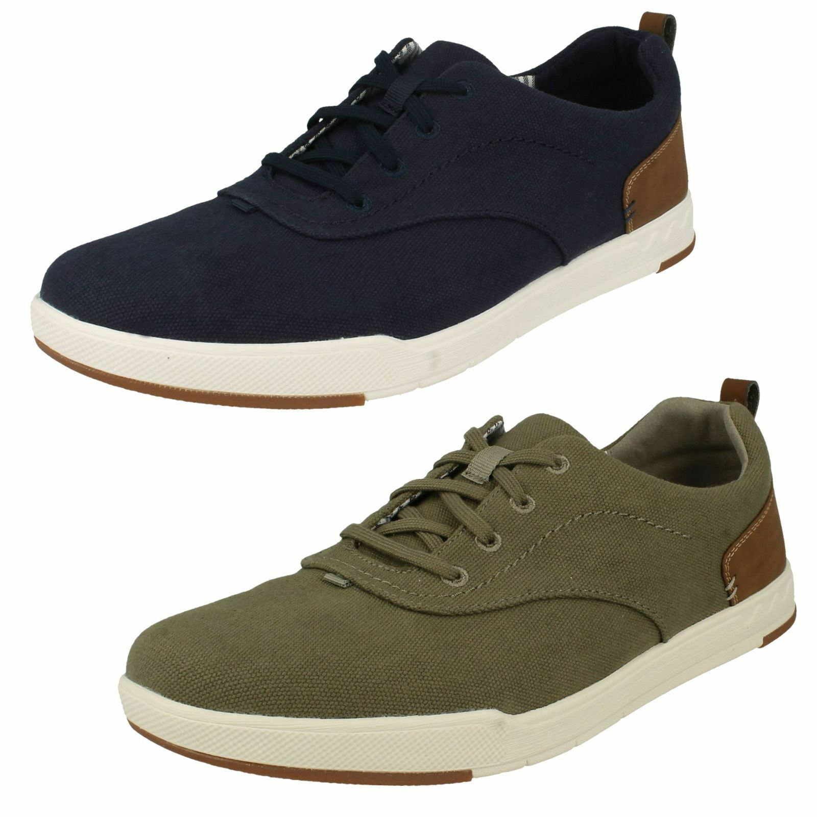 Clarks Mens Rounded Toe Casual Lace Up Textile Trainers Step Isle Crew