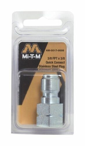 """Mi-T-M AW-0017-0006 Replacement Pressure Washer Quick Connect ⅜/"""" x ⅜/"""" FNPT Plug"""