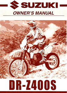 2001 suzuki dr z400s motorcycle owners manual dr z 400 s suzuki rh ebay com 2007 suzuki drz 400 owners manual suzuki drz 400 service manual