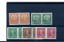 CANADA GEORGE V COIL PAIRS SCOTT 160-161 AND 228-230 MINT SETS.