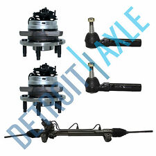 Power Steering Rack and Pinion + 2 Wheel Hub Bearing Assembly w/ ABS + 2 Tie Rod