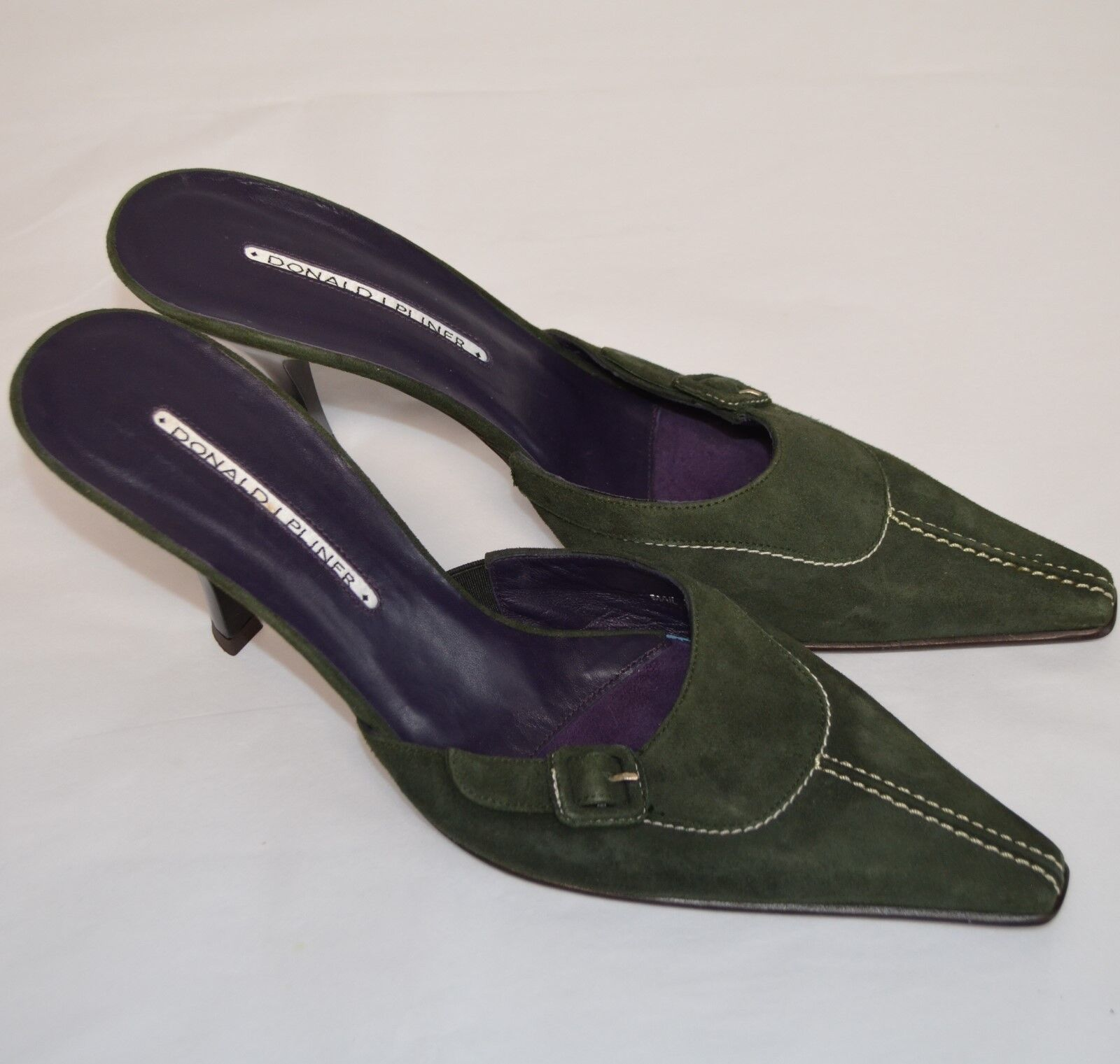 Donald Pliner Mail High Heels Slides Mule WM 10 N Green Suede Schuhes Pumps Buckle