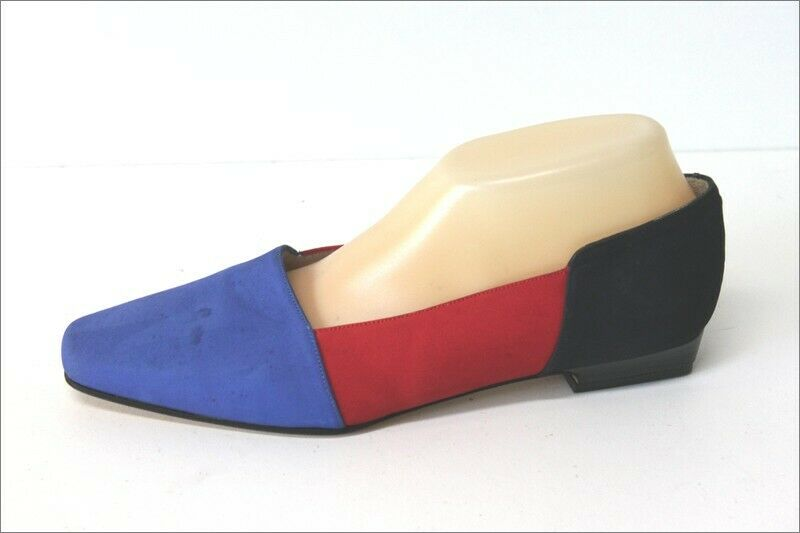 Ted lapidus pumps all leather navy bluee red and t 39.5 tbe