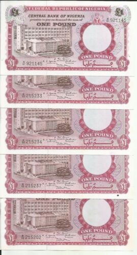 5RW 22MAY NIGERIA LOT 5x 1 POUND 1967  P 8 UNC CONDITION