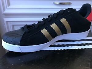 NEW Adidas SUPERSTAR VULC ADV Leather Black Gold Red Men's Shoes D68721