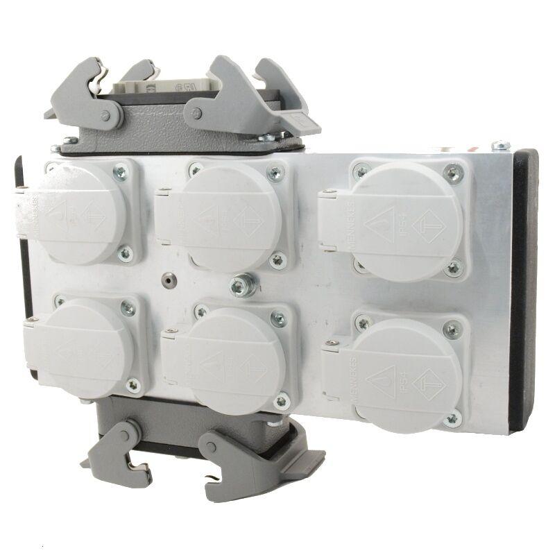 Mpl Ulpb62h Aluminum Powerbox 6 avec 2x 16pol Harting sur 6 Prises Schuko