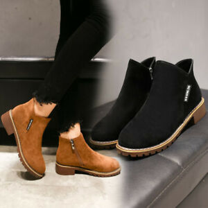 Women-Suede-Ankle-Boots-Short-Martin-Boots-Chunky-Heels-Boots-XE