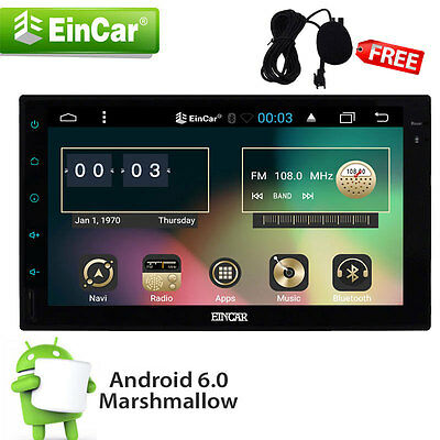 "US Eincar 2 Din 7"" Android 6.0 System Car Stereo GPS FM Radio Navi Sat BT No-DVD"