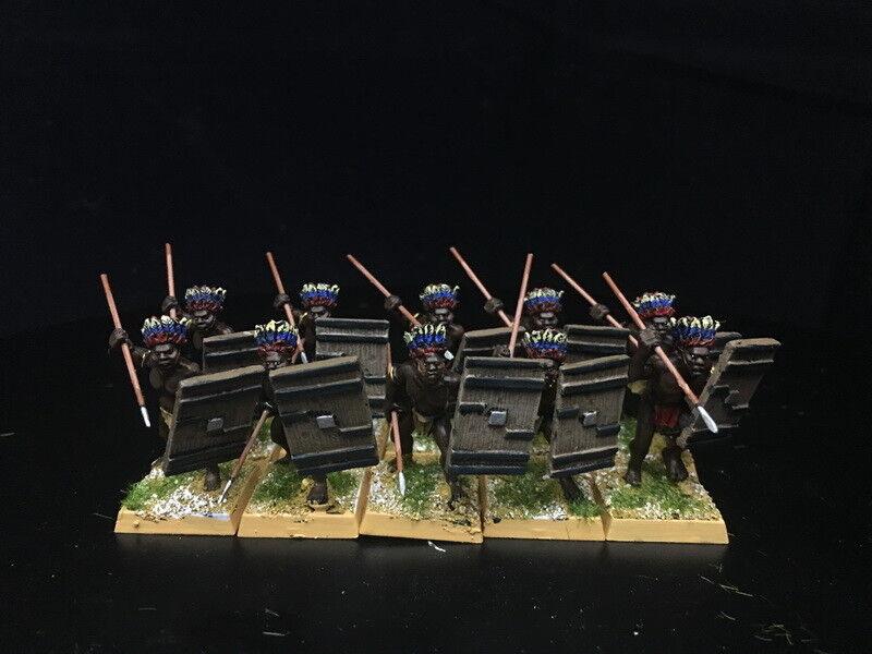 1 56 28mm del Departamento de Seguridad Pública Pintado guerra colonial tribus Africanos guerreros con plumas RC910