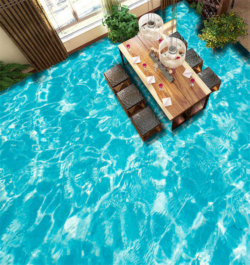 Clear Pool Water 3D Floor Mural Photo Flooring Wallpaper Home Print Decoration