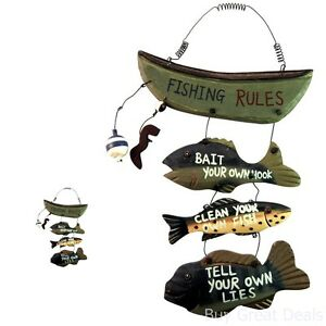 Hand-Craft-Wood-Fishing-Rules-Sign-Fish-Boat-Nautical-Decor-Approximately-8x14in