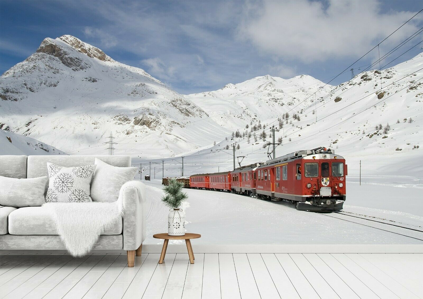 3D Snow Mountain Train N45 Transport WandPapier Mural Self-adhesive Removable Amy