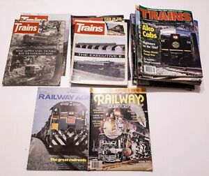 Lot-of-32-Vintage-TRAINS-amp-RAILWAY-AGE-QUARTERLY-Magazines-1970s-1980s-1990s