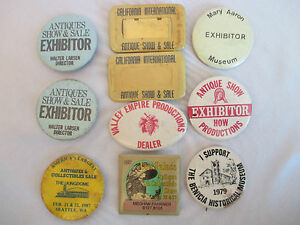 Vintage 1970s-1990s ANTIQUE SHOW PINBACK BUTTONS x10 Exhibitor Museum California