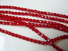 Lot de 50 perles à facettes 4mm rouge .