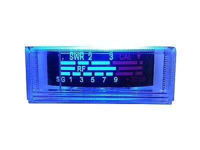 NEW COBRA,UNIDEN CB RADIO S RF / SWR POWER REPLACEMENT METER, BLUE LED LIGHT