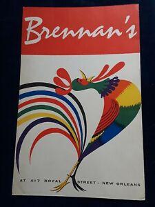 Breakfast At Brennan's New Orleans LA Original Vintage 1950's Restaurant Menu