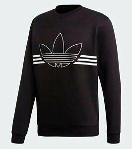 Adidas Men OUTLINE Fleece Crew L/S Shirts Black Tee Jersey Casual ...