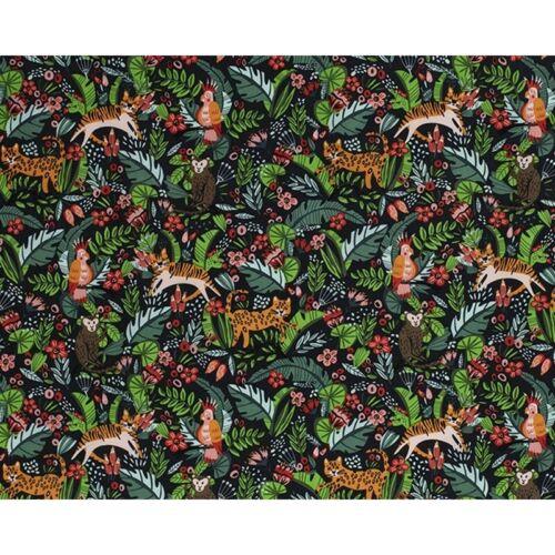 100/% algodón tela selva Floral Flores Tigres Mono Parrot 140cm de ancho