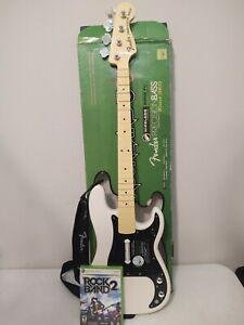 Xbox 360 Rock Band Fender Precision Bass Replica WIRELESS + Game RARE Works READ
