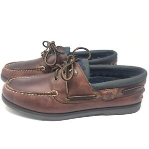 TIMBERLAND-2-Eye-Briggs-Bay-Boat-Brown-Leather-Casual-Shoes-Mens-Sz-10-M