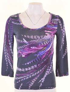 JUST-CAVALLI-Womens-Top-3-4-Sleeve-Size-12-Medium-Multicoloured-CK11