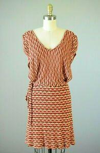 HALE-BOB-Orange-Red-Brown-Zig-Zag-Knit-Sweater-Dress-Size-XS