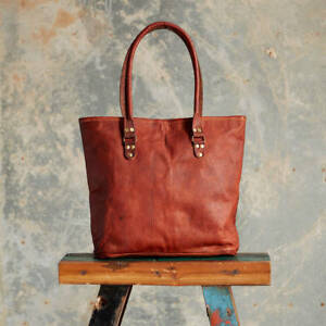 910d5aaf9d Image is loading Women-Christmas-Vintage-Genuine-Brown-Leather-Tote-Shoulder -
