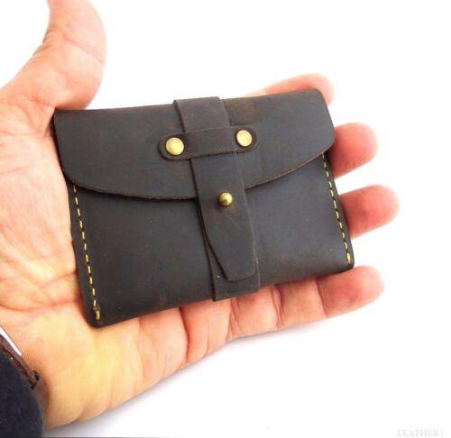 Men/'s Natural Leather Credit Card Case Mini Wallet 2 Slots Back Pocket Size Slim