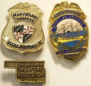 Police Trooper Pins Lot of 3 Maryland New Hampshire Oklohoma Vintage #10286