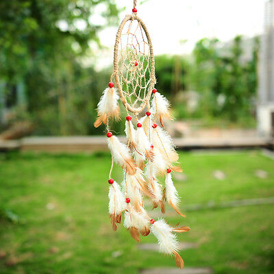 Handmade Flax Dream Catcher Net With feather Hanging Decoration Ornament Gift
