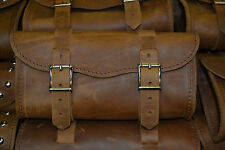 Large Crazy Horse Brown Leather Motorcycle Tool Bag Harley Indian Made In USA