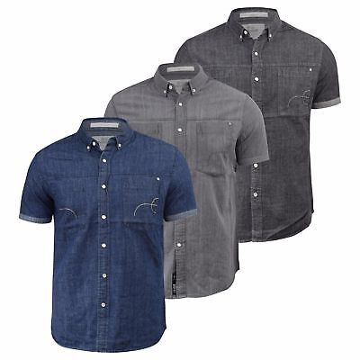 YYear Men Button Down Denim Short Sleeve Classic Chest Pocket Shirts