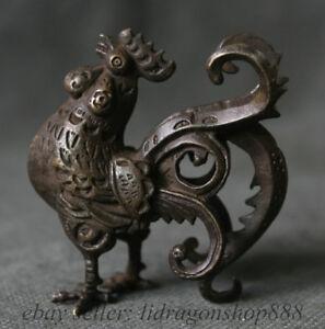 6 cm Chinois Cuivre FengShui Animal Zodiaque Année Coq Cock Statue Sculpture