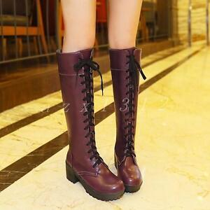 Women-039-s-Faux-Leather-Lace-Up-Block-Heel-Knee-High-Riding-Boots-Motorcycle-Shoes