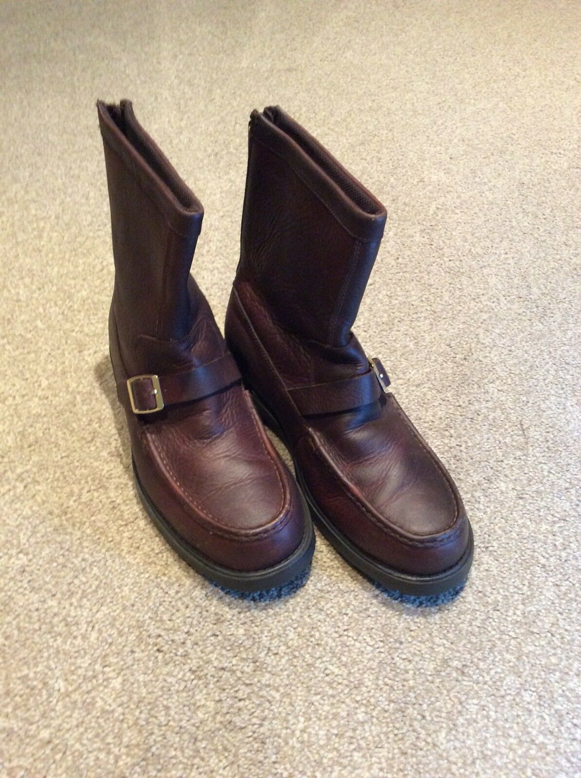 LANDS END Brown Leather Winter Boots Size 8 UK