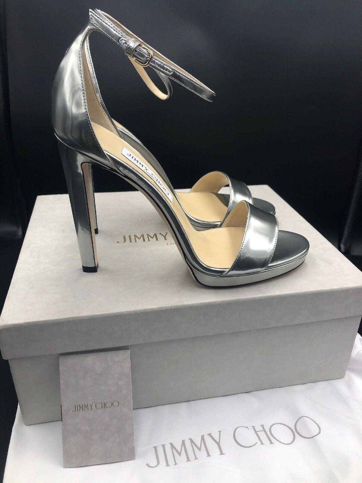 Jimmy Choo 'Misty' 'Misty' 'Misty' Silber Heels Sandals Strappy Größe Uk 7.5 Eu 40.5 Rrp e66ffe