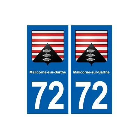 72 Malicorne-sur-Sarthe blason autocollant plaque stickers ville droits