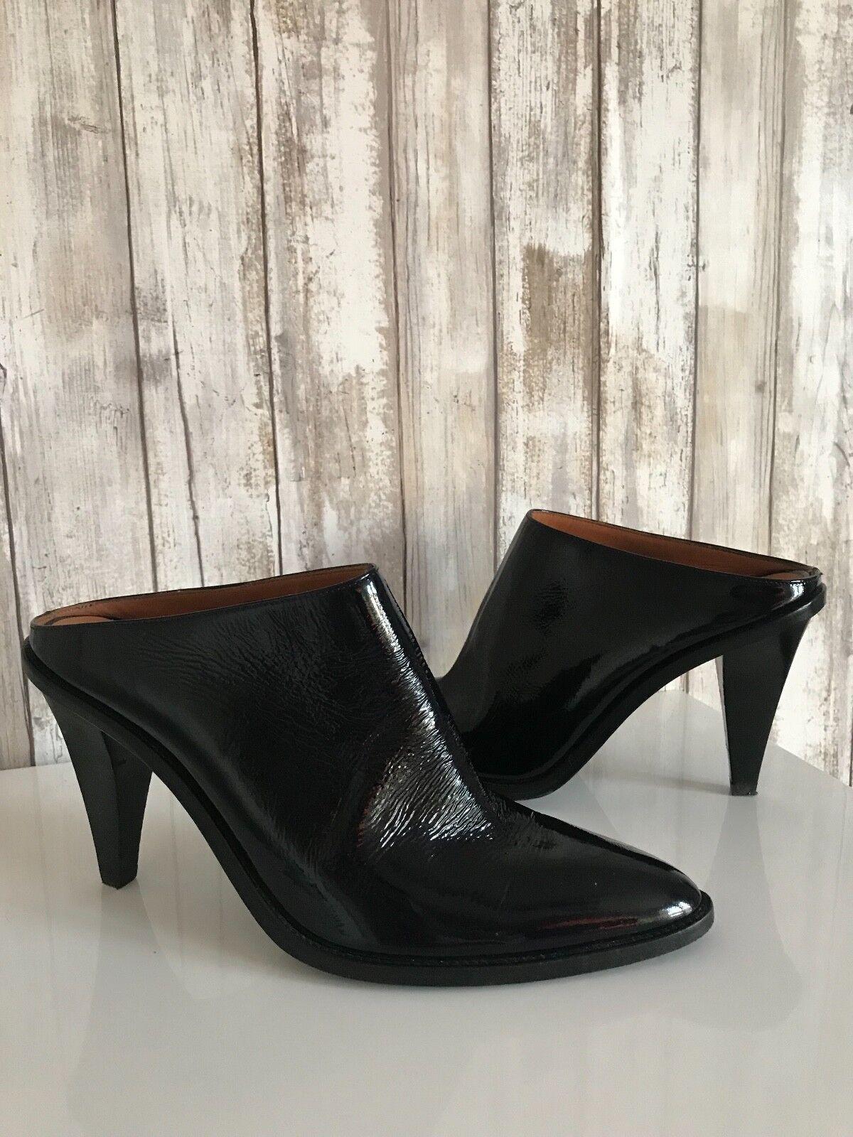 H&M Studio Collection 2014 Black Patent Leather Mule Slides Slip On Heels 40 8.5