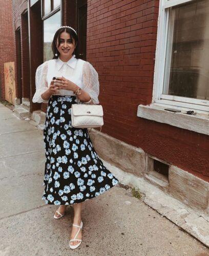 XL Zara Black Floral Print Midi Long Skirt Size M L