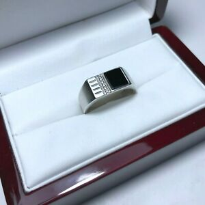 Soviet-Signet-Mens-Ring-Silver-925-Size-9-USSR-4-12g-Ring-Onix-Vintage
