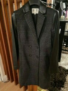 Austin Reed Zara Ted Baker Designer Checked Wool Coat With Leather Sleeves Ebay