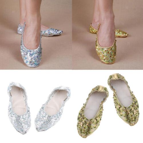 Frauen Mädchen Bauchtanzschuhe Rutschfeste Soft Sohlen Performance Schuhe