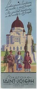 1930s St. Joseph Oratory of Mt. Royal Travel Brochure Montreal Quebec Canada